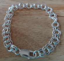 """sizes 6""""-9"""" Double Rolo 7 mm Link Sterling Silver Charm Bracelet with Lobster Clasp"""