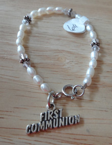 """6"""" Sterling Silver First Communion White Pearl Bracelet"""