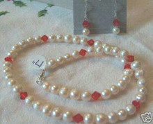 """17"""" Sterling Silver Off-White Fresh Water Pearl & Red Crystal Necklace and Earring Set!"""