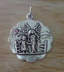 20x20mm Round Guardian Angel Sterling Silver Charm