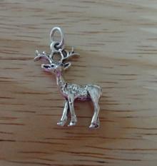 Deer Buck with Antlers Sterling Silver Charm