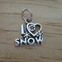 15x15mm I Love Snow w/ Heart Sterling Silver Charm