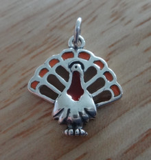 17x19mm Colorful Enamel Thanksgiving Turkey Sterling Silver Charm