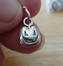 9x12mm Halloween Small Jack-O-Lantern Sterling Silver Charm