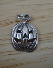 11x17mm Halloween Oval Jack-O-Lantern Sterling Silver Charm