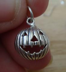 12x14mm Halloween Round Jack-O-Lantern Sterling Silver Charm