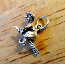 3D 15x20mm Ugly Witch on a Broom Sterling Silver Charm