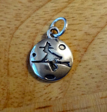 Witch Riding on a Broomstick in front of the Moon Sterling Silver Charm