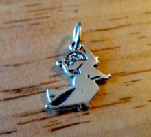 Witch on Broom with the Moon in the background Sterling Silver Charm