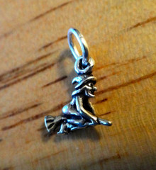 Tiny 10x9mm Halloween Witch on a Broom Sterling Silver Charm