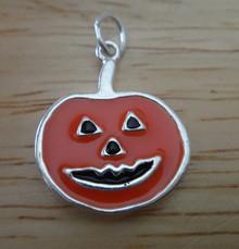 18x22mm Orange Enameled Jack O Lantern Sterling Silver Charm