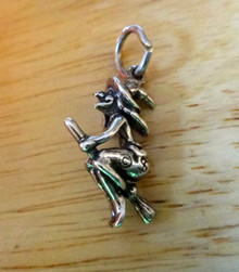 16x22mm Halloween Hand on Hat Witch on a Broom Sterling Silver Charm