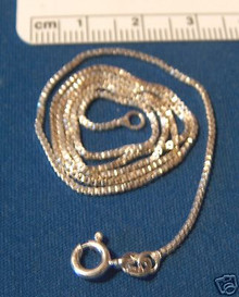 """sizes 14, 16"""", 18"""", 20"""", 24"""", or 30"""" 1 mm Box Sterling Silver Chain"""