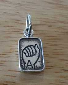 8x16mm Sterling Silver American Sign Language Alphabet Letter A Charm