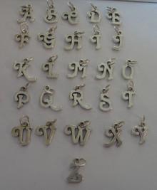 Sterling Silver Alphabet A thru Z (Cursive Style) Initial Charm