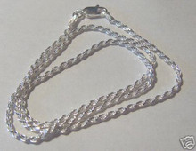 """Sterling Silver 18 20 24 or 30"""" 1.5 mm Rope Chain for Men or Women"""