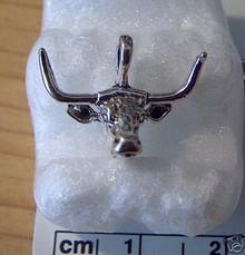 Sterling Silver Large Bull Texas Longhorn Steer Head Charm