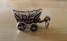 Sterling Silver 13x20mm Movable Covered Wagon Charm