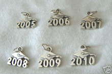 Sterling Silver 2006, 2007, 2008, 2009, 2010 Graduation Cap Charms