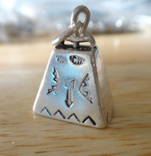 21x14mm Movable Southwest Cow Bell Cowbell Sterling Silver Charm