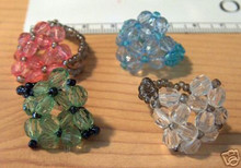 4 Child sized Birthday Party Favor Beaded Rings