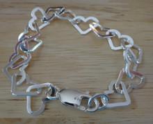 "Sterling Silver size 7"", 7.5"", 8"", 8.5"", 9"", or 9.5"" 10x13mm Lg heart link charm bracelet"