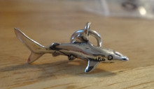 Sterling Silver 3D Solid 9x22mm Small Shark Fish Charm