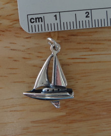 Sterling Silver 3D 21x15mm 2 sail Sailboat with Cabin Yacht Charm