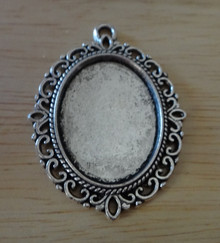"""29x40mm Silver PEWTER Xlarge Fancy Oval Photo Picture Frame 1.5"""" Long Pendant Charm"""