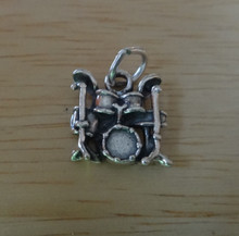 13x13mm Sterling Silver Small Drum Set Cymbals Music Charm