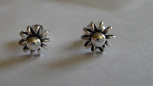 Sterling Silver TINY 7 mm diameter Sun Flower Ball and lines Stud Earrings!