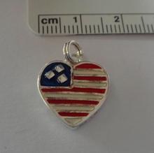 Sterling Silver 16x14 mm Enamel Red White Blue US Flag Heart Charm