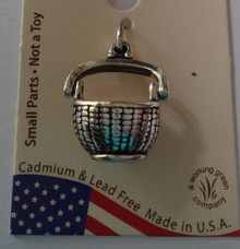 Sterling Silver 3D Movable Handle Woven Basket Nantucket style Charm