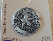 Sterling Silver Says The State of Texas on Seal w/ Star Skat Tie Tack Lapel Pin