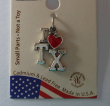 Sterling Silver Says I Love with Red Enamel Heart TX Texas Charm
