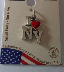 11x14mm Sterling Silver Says I Love with Red Enamel Heart NY New York Charm