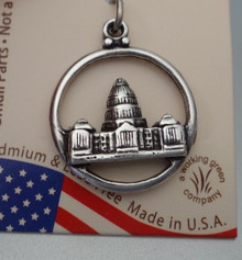 Sterling Silver Round cut out with Texas Capitol in Austin the Capital Charm