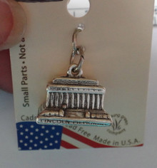 Sterling Silver Lincoln Memorial Building in Washington DC Charm