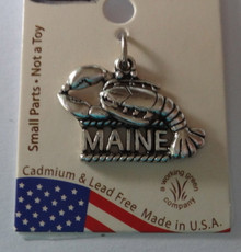 Sterling Silver says Maine with a Lobster Charm