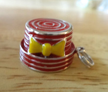 Sterling Silver 3D 16mm Cute Red Enamel Pillbox hat with yellow bow Charm