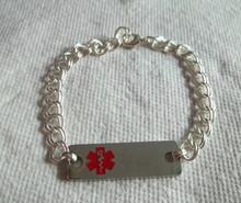 "8"" Stainless Steel Engravable Oblong shaped RED Medical Alert ID Bracelet"