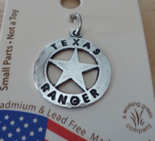 15x17mm Sterling Silver Small State of Texas Ranger Badge with Star Charm!