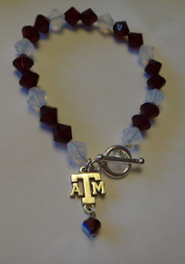 "8"" Sterling Silver Texas A&M University Maroon White Swarovski Charm Bracelet"