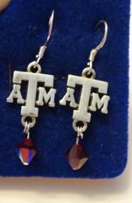 Sterling Silver Texas A&M University Aggie ATM 6mm Siam Swarovski Dangle Bead Earrings