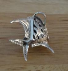 Sterling Silver Beautiful 38x30x15mm Abalone Onyx Fish Pendant