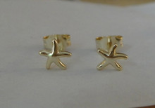 Gold Plate Sterling Silver TINY 6mm Starfish Star Fish Studs Earrings!