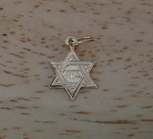 1 TINY 11x8mm Gold Plated Sterling Silver flat Star of David Baby Charm