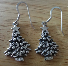 Sterling Silver 27x11mm Christmas Tree Star 16mm long Wire Earrings