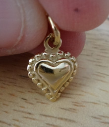 14K gold plated Sterling Silver 3D 14x10mm Small Heart with Round Balls Charm!