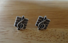 Sterling Silver TINY 8x7mm Treble Clef on Staff Music Stud Studs EARRINGS